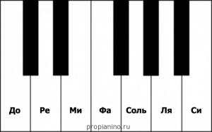 Расположение нот на клавишах пианино