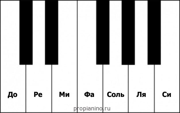 Расположение нот на клавишах
