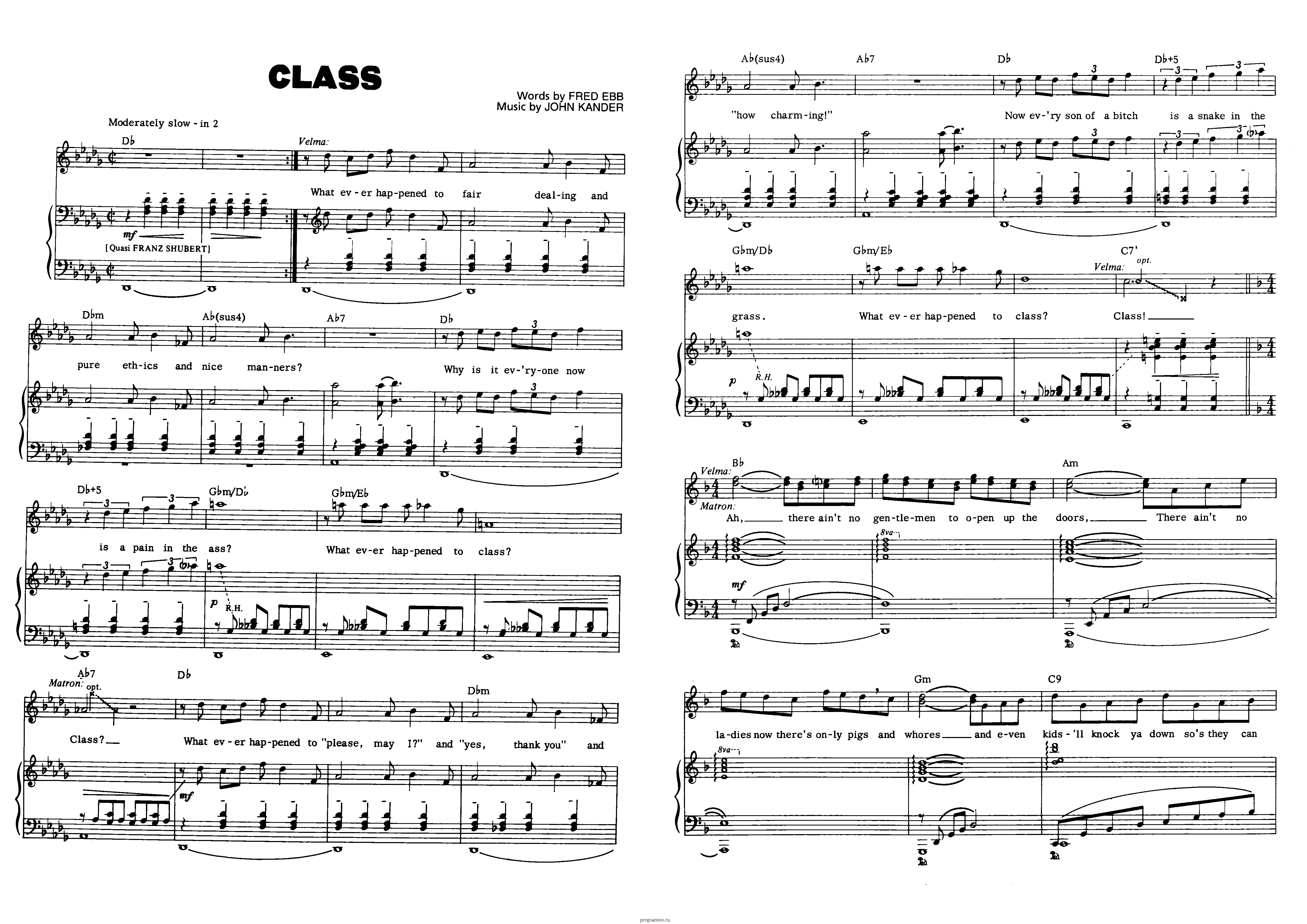 "Песня ""Class"" из мюзикла ""Chicago"": ноты"