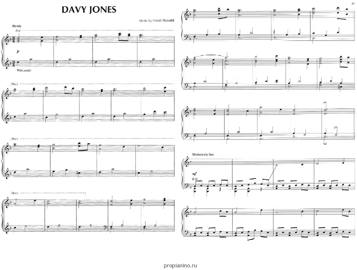 Песни из кинофильма пираты карибского моря скачать ноты для фортепиано.