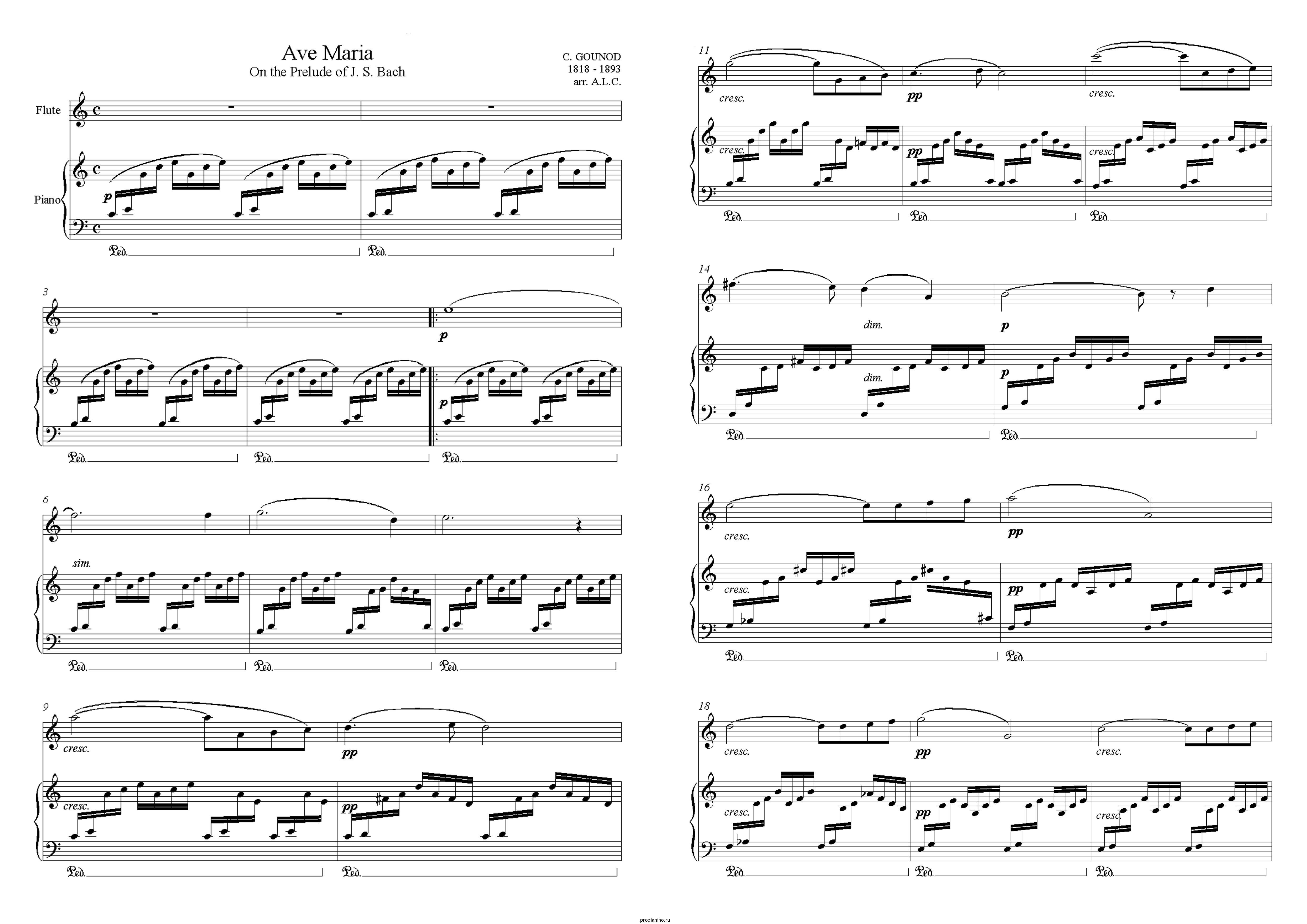 """Прелюдия до-мажор """"Аве Мария"""" из ХТК И.С.Баха: ноты"""