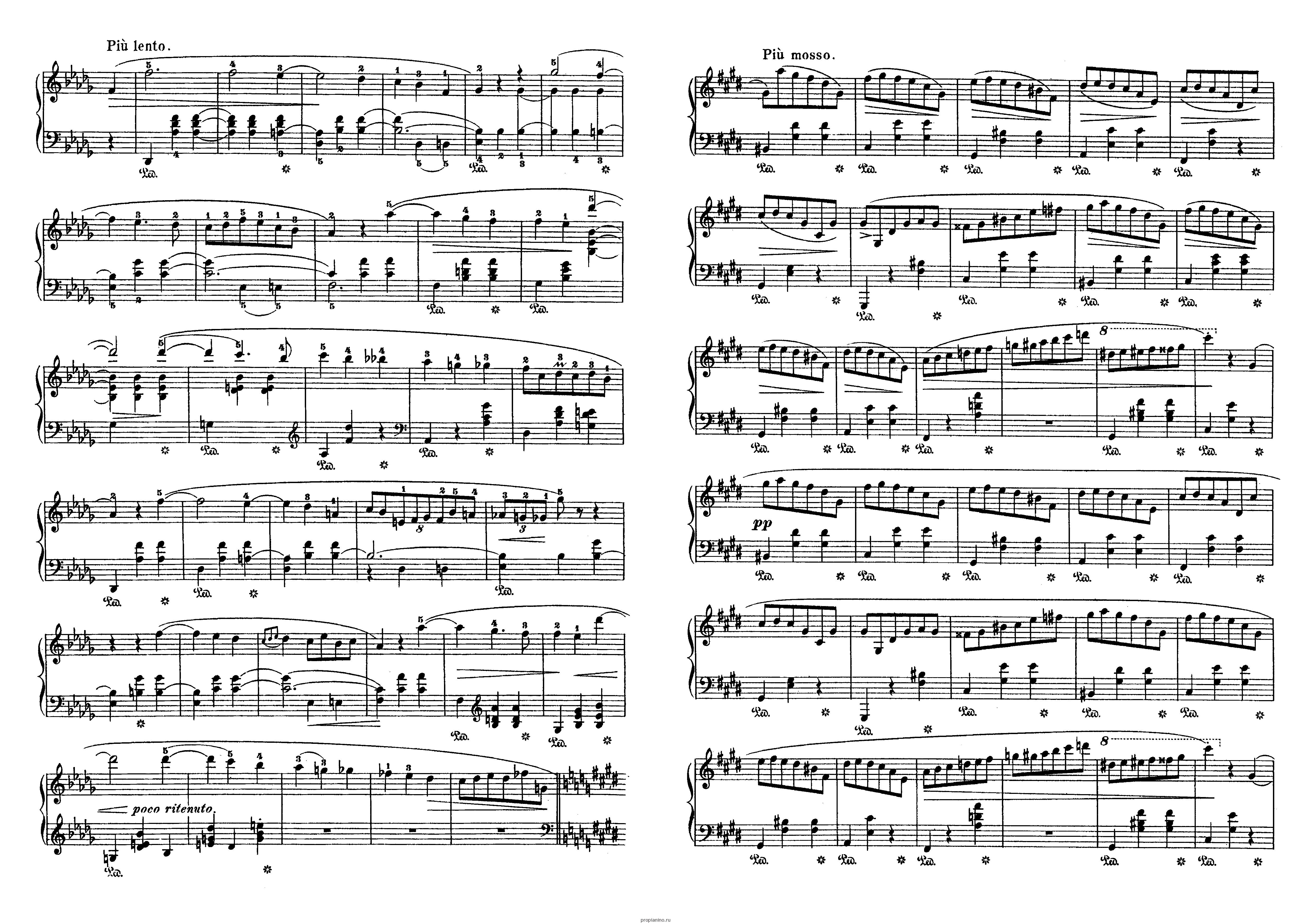 Вальс цветов шопен ноты для фортепиано