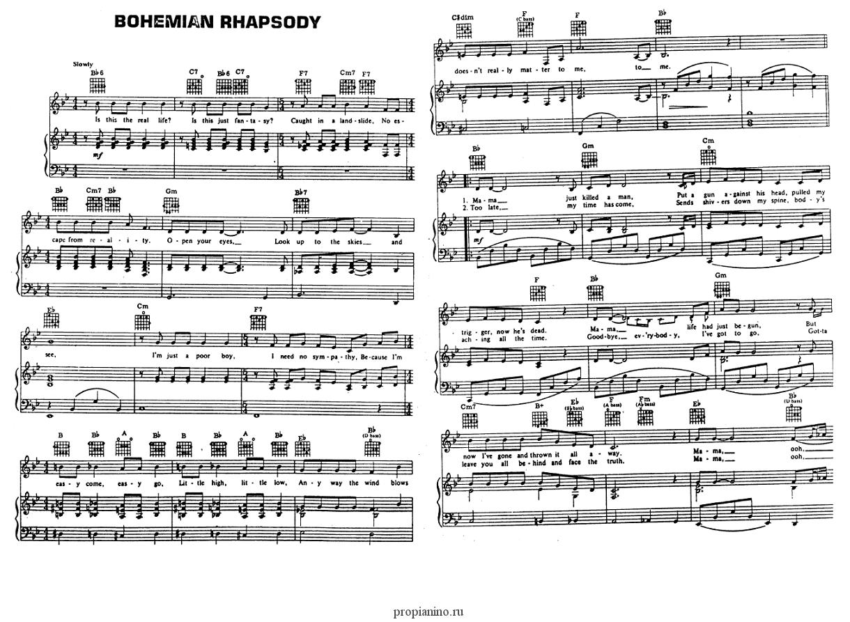 Bohemian rhapsody (Queen) - ноты