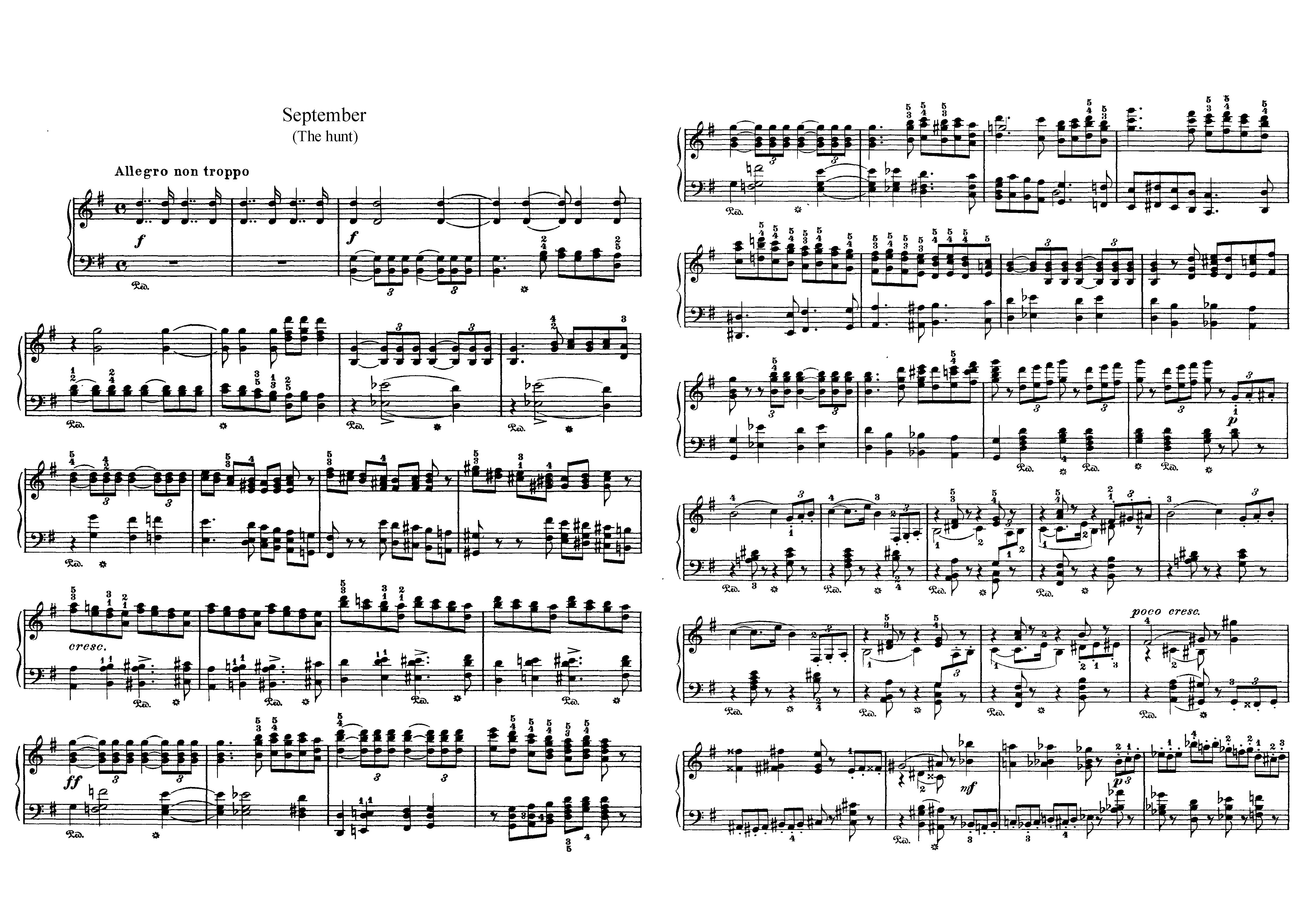 """Сентябрь """"Времена года"""" П.И. Чайковский: ноты"""