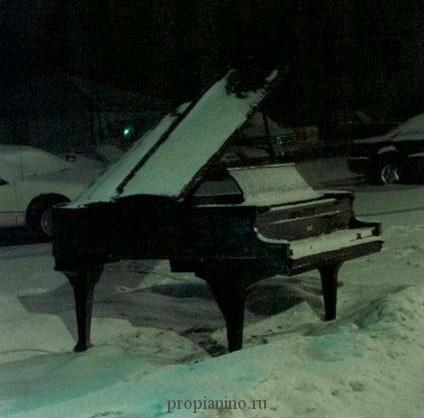 Черный рояль в снегу