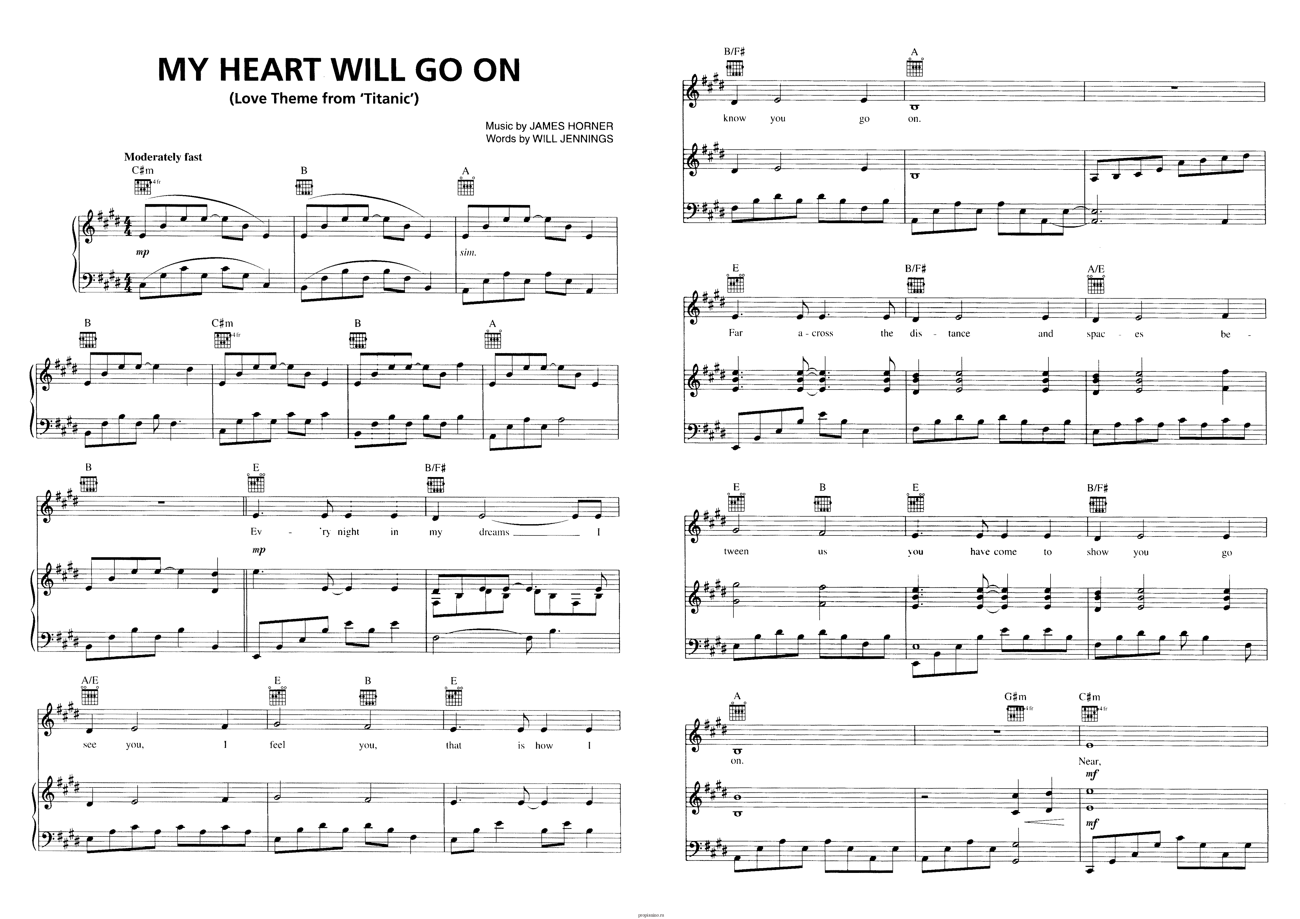 Титаник: музыка из кинофильмов ноты песни мое сердце будет жить.
