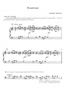 Волнения (Vexations) Э. Сати: ноты