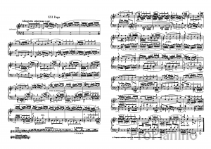 Фуга №21 (Си бемоль мажор) ХТК 1 И.С. Бах: ноты