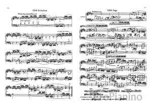 Прелюдия и фуга №23 (Си мажор) ХТК 1 И.С. Бах: ноты