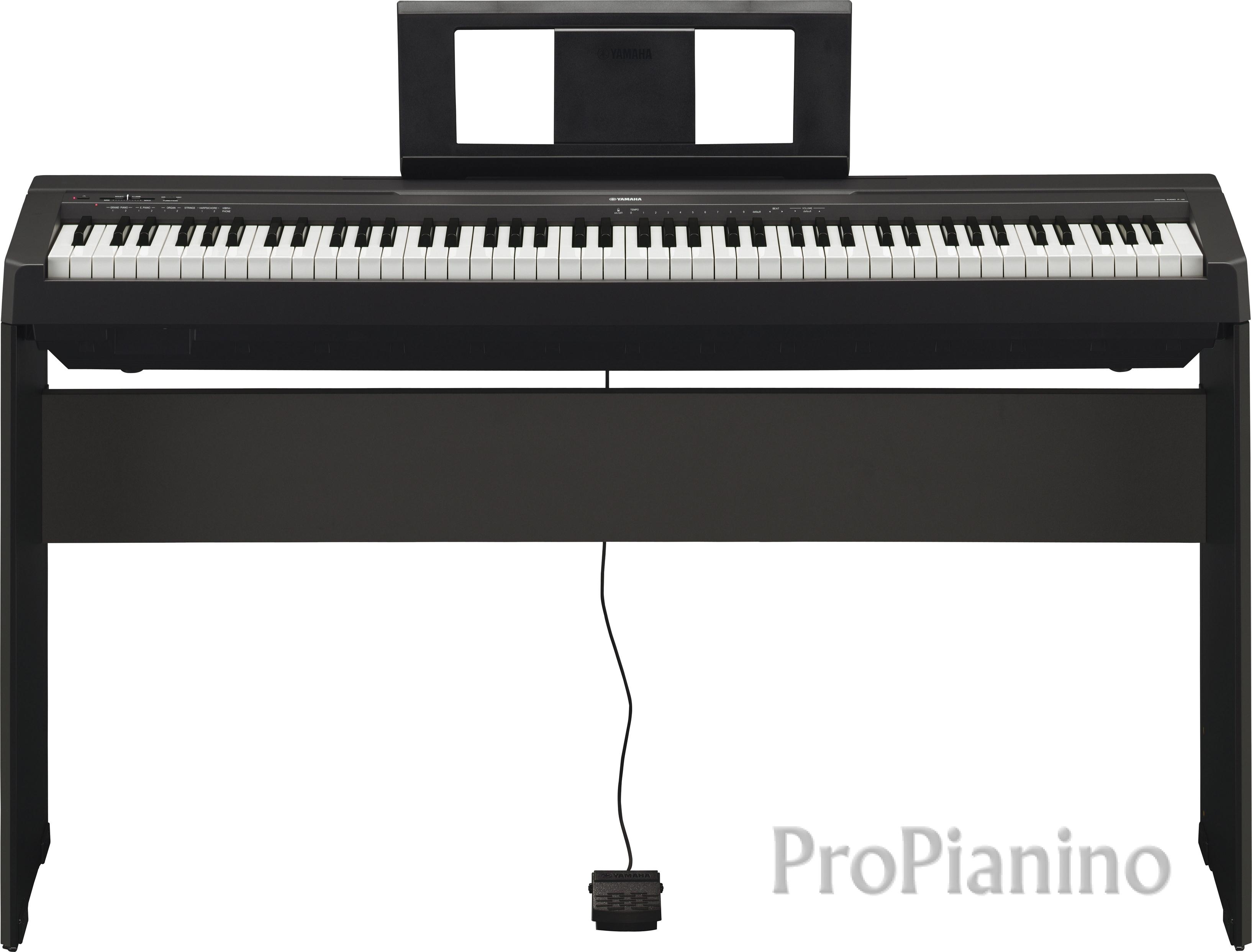 Цифровое пианино Yamaha P-45 - вид спереди на подставке с педалью