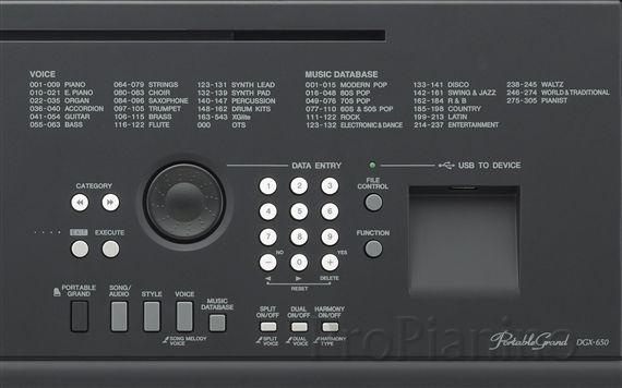Yamaha DGX650B_detail